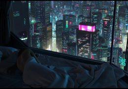 Ночной город за окном - живые обои
