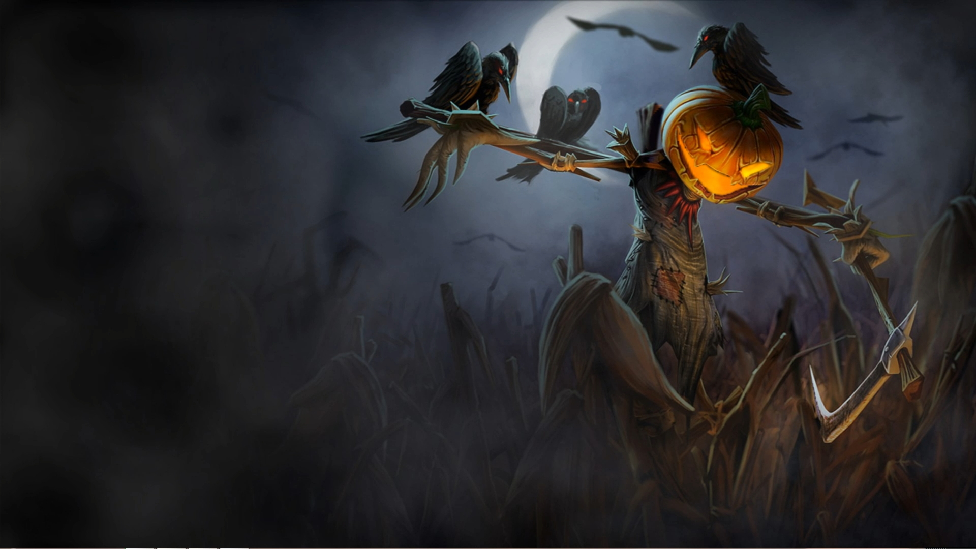 Хеллоуин пугало и вороны - живые обои