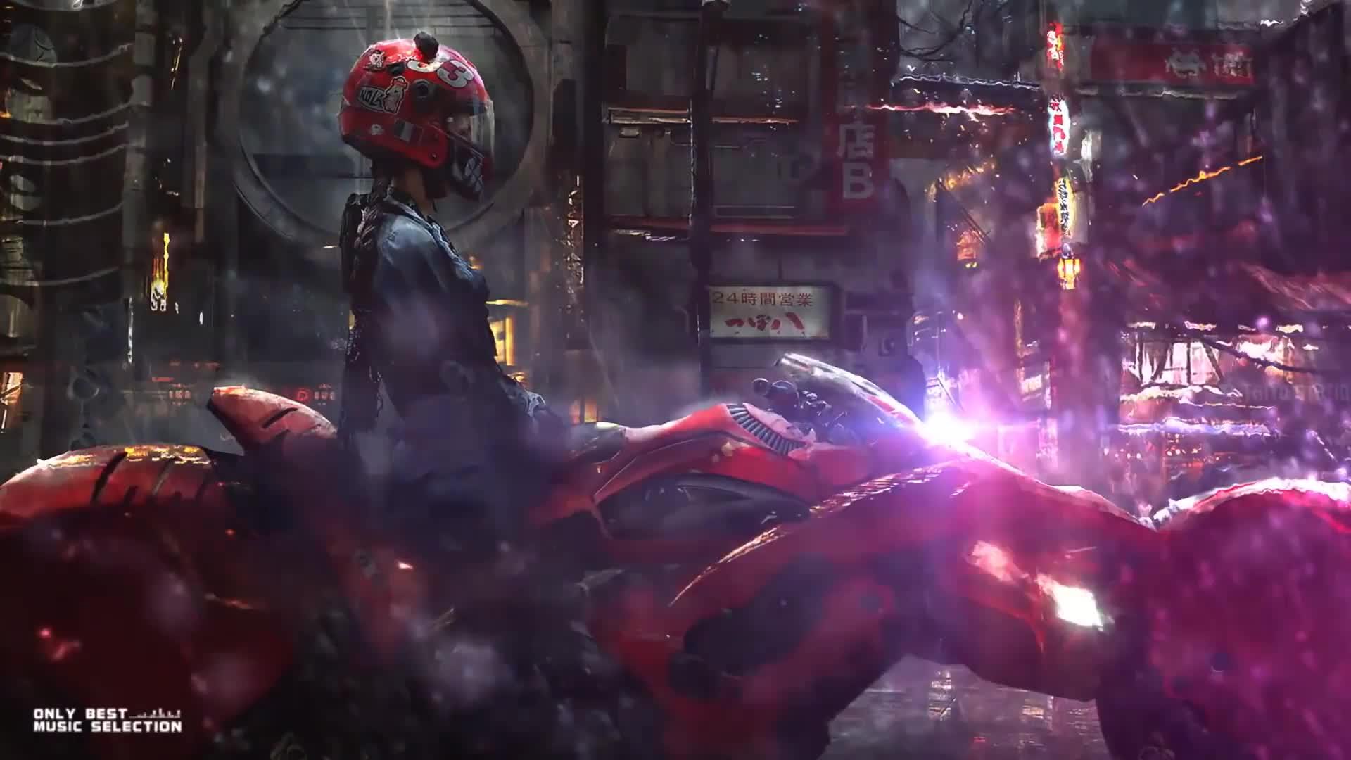 Девушка на мотоцикле - Кибепанк - Живые Обои