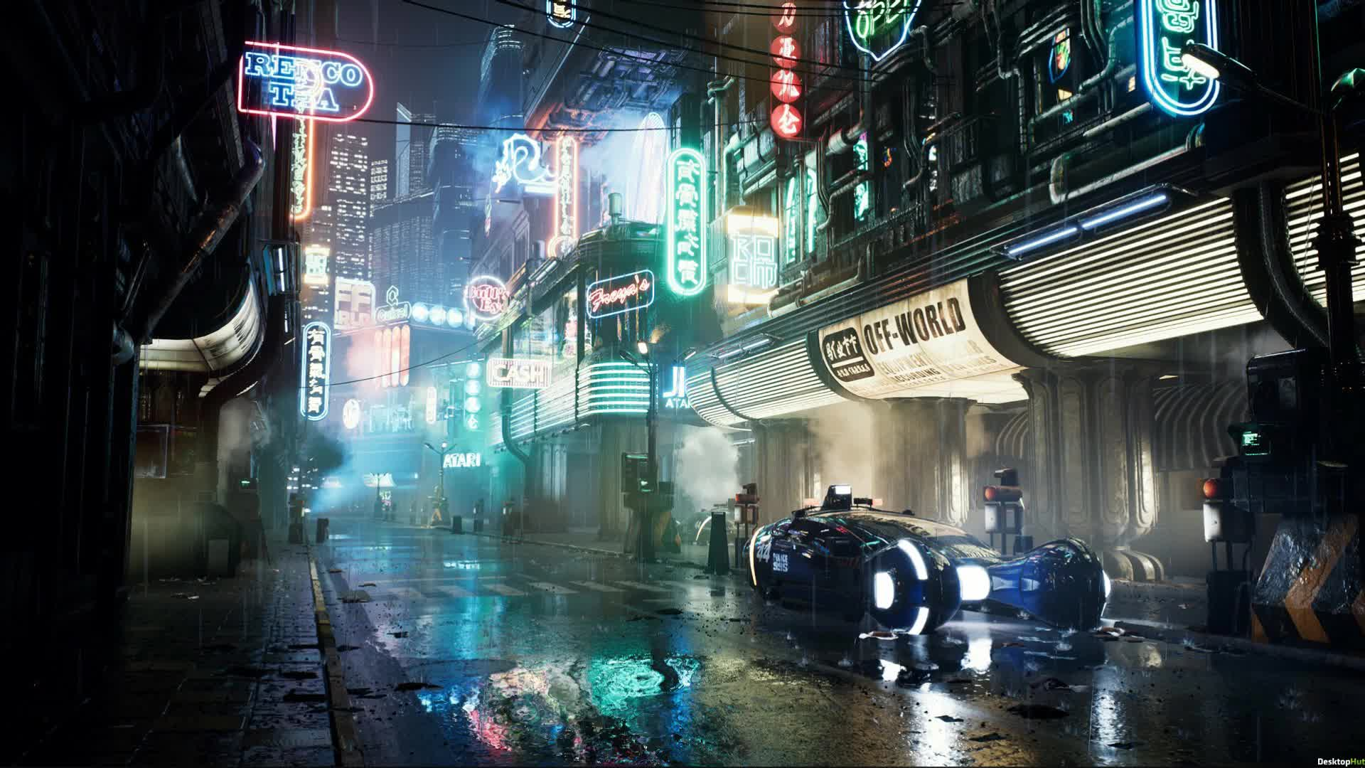 Blade Runner улочка с авто - Киберпанк - Живые обои