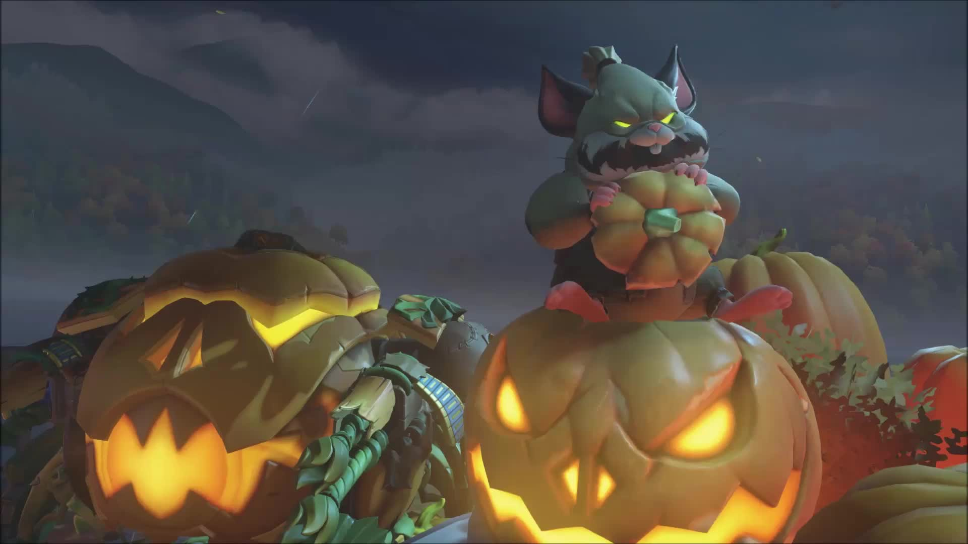 Хеллоуин 2018 и зверёк пожирающий тыкву - живые обои