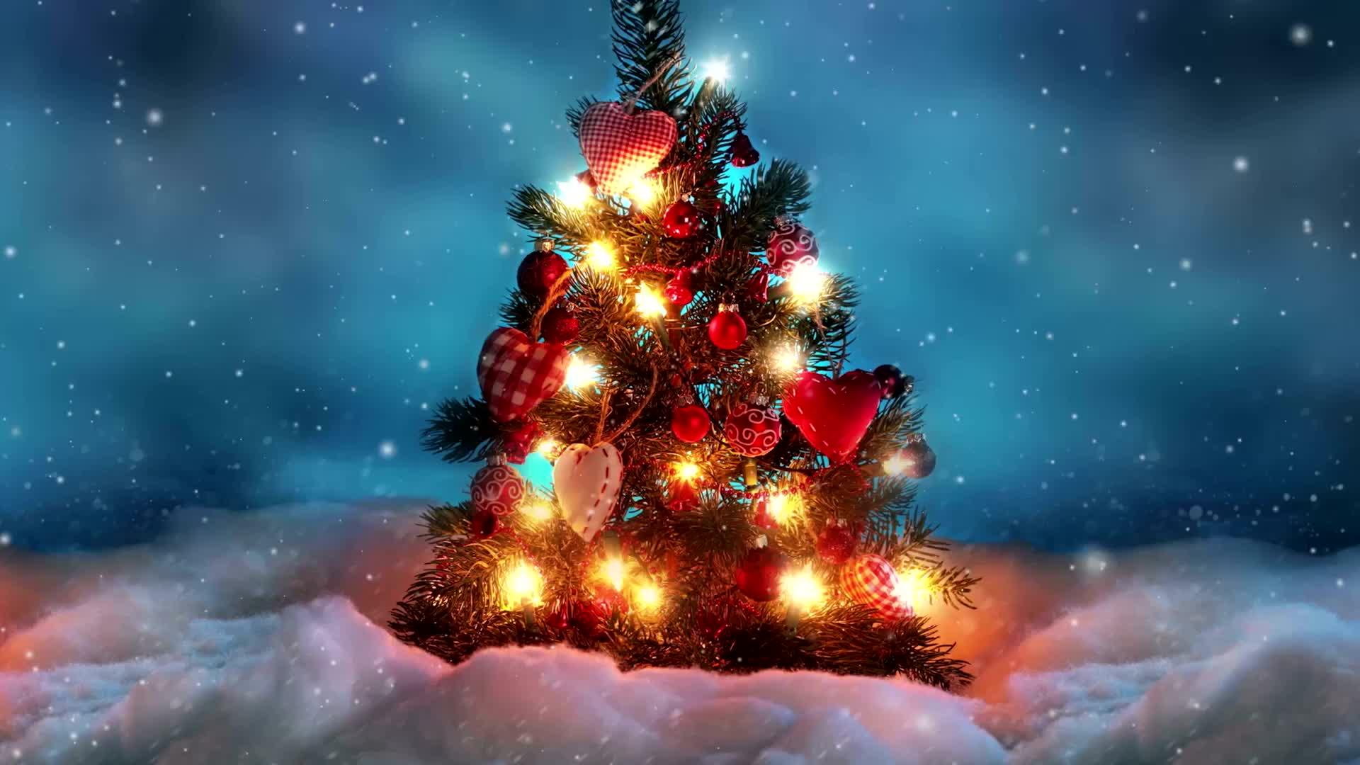 Рождественская ёлочка в праздничных огнях - живые обои